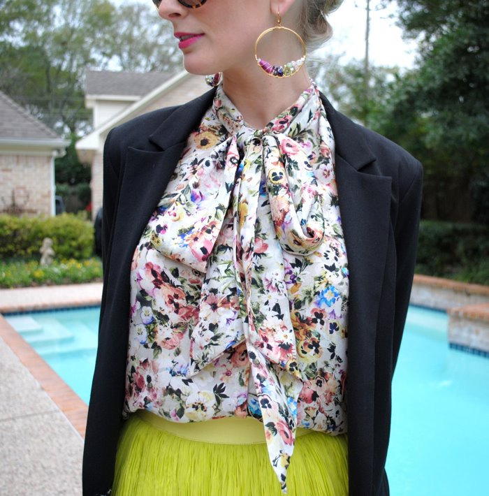 Floral Tie-Neck Blouse | The Style Scribe