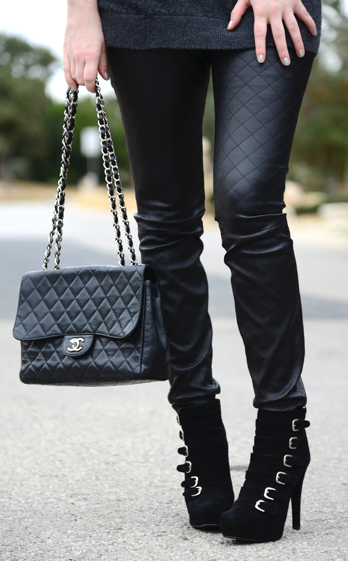 THEORY QUILTED LEATHER PANTS