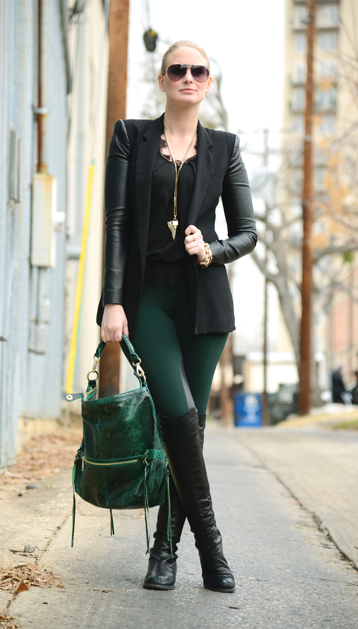 THEORY GREEN LEGGINGS WITH LEATHER PANELS