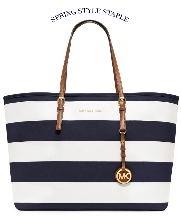 MICHAEL Michael Kors Medium Jet Set Striped Travel Tote | The Style Scribe