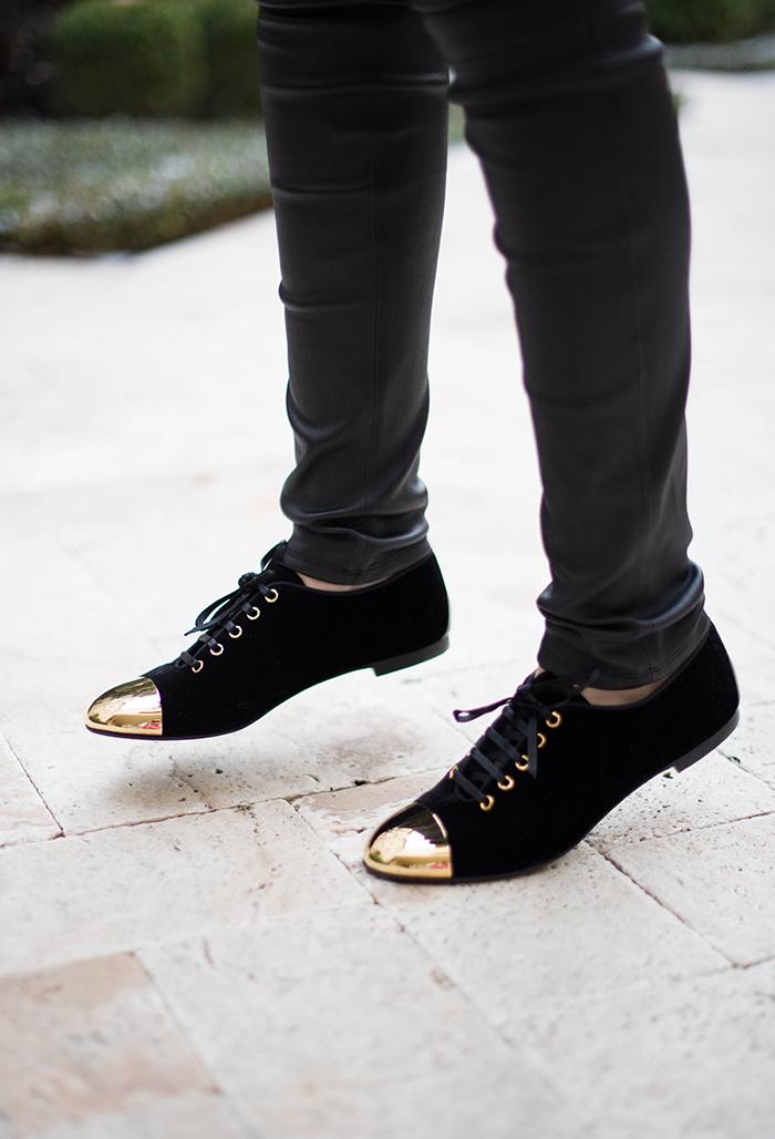 Giuseppe Zanotti Velvet Cap-Toe Oxford | The Style Scribe, Texas Fashion Blog