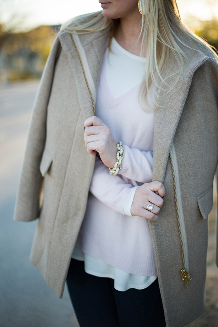 Blush | The Style Scribe, J.Crew stadium cloth cocoon coat theory sweater calypso st barth jazmin shirttail tee Valentino t-strap crystal booties