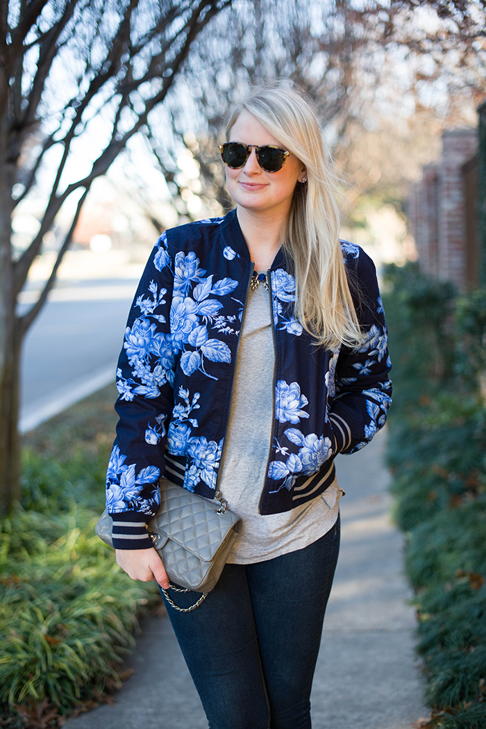 Flower Bomb   The Style Scribe gap floral bomber jacket chanel bag calypso jazmin tee
