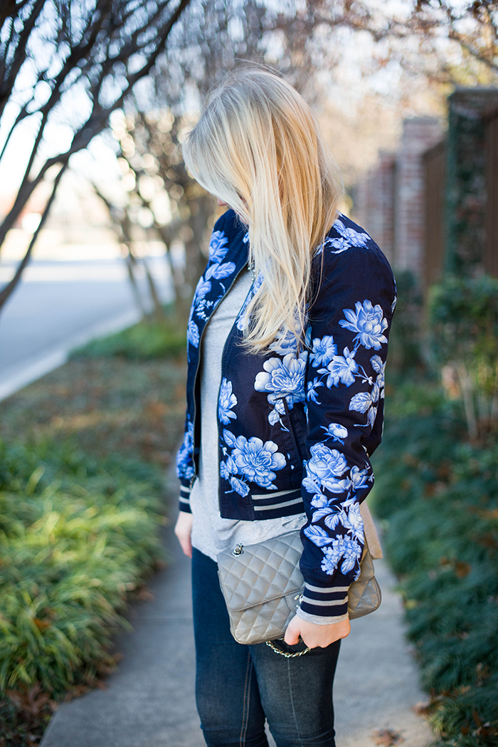 Flower Bomb | The Style Scribe gap floral bomber jacket chanel bag calypso jazmin tee