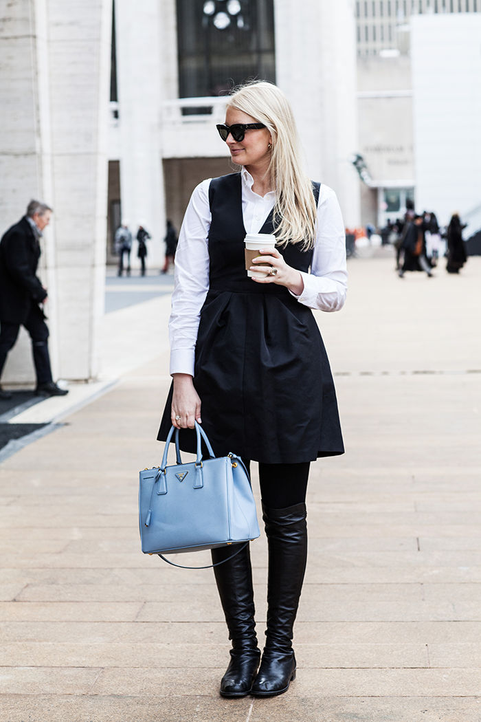 Alexander McQueen Dress, Theory Shirt, Burberry Coat | The Style Scribe