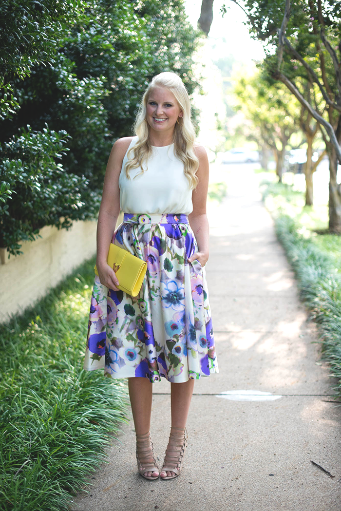 Lela Rose Floral Midi Skirt   The Style Scribe