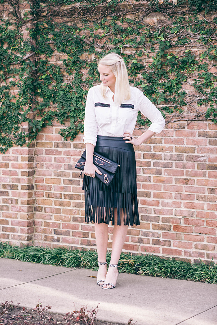 BCBG Fringe Leather Skirt | The Style Scribe