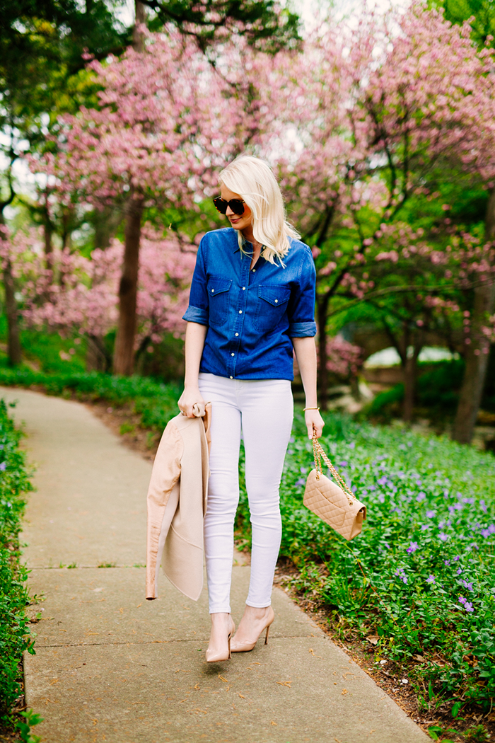 Chambray Shirt + Nude Pumps   The Style Scribe