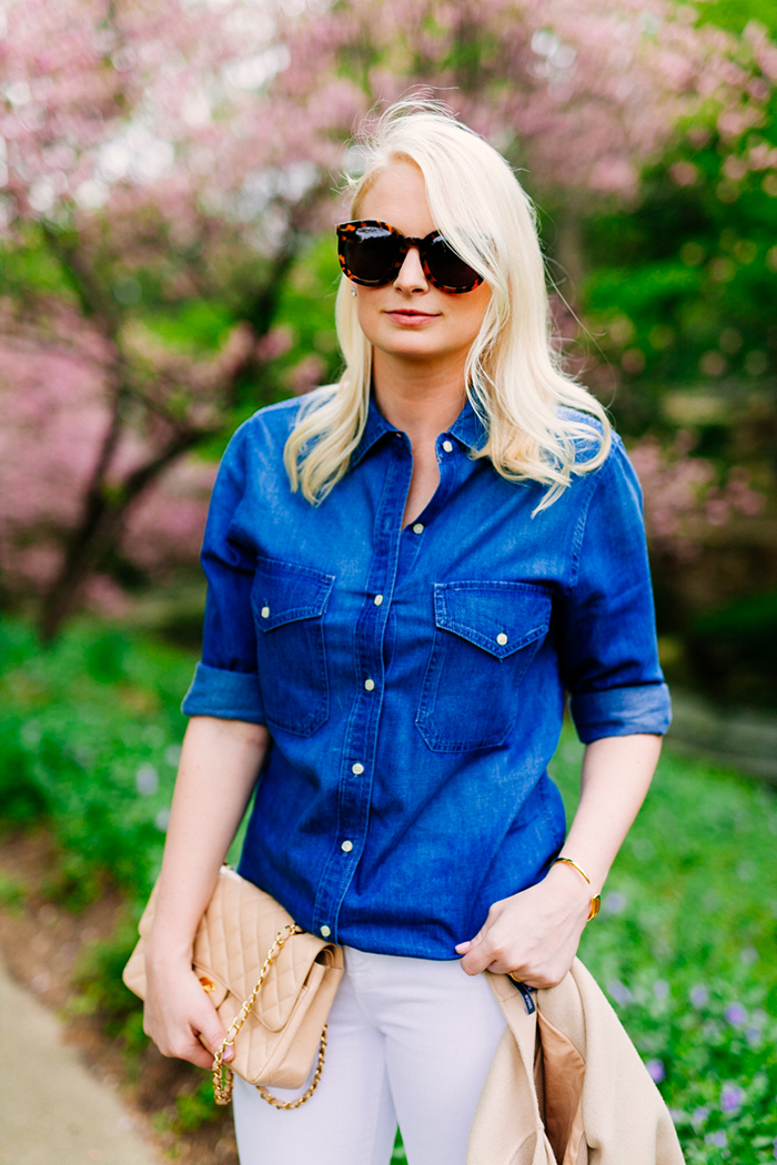 Chambray Shirt + Nude Pumps | The Style Scribe