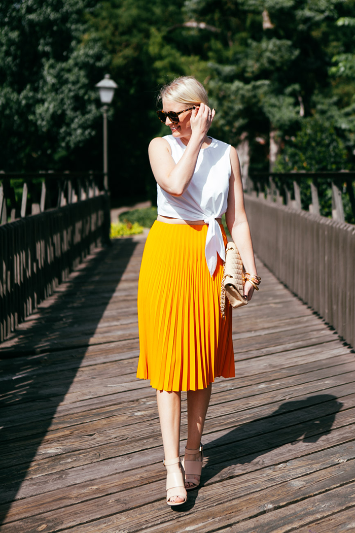 COS Pleated Orange Skirt   The Style Scribe