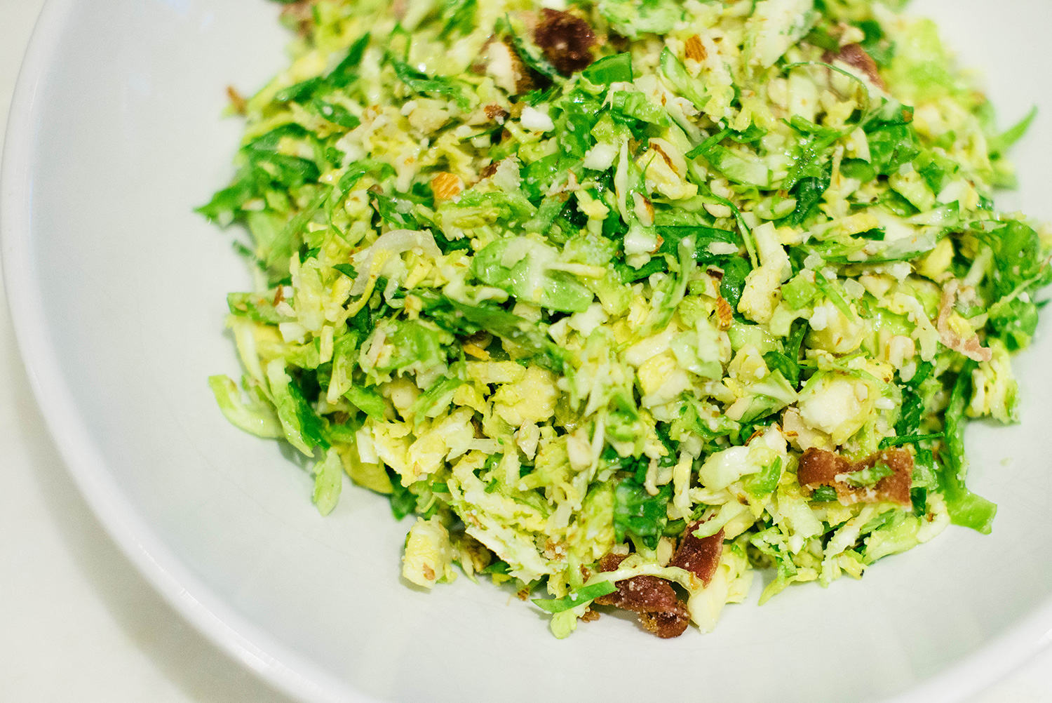 shredded brussels sprouts salad with bacon