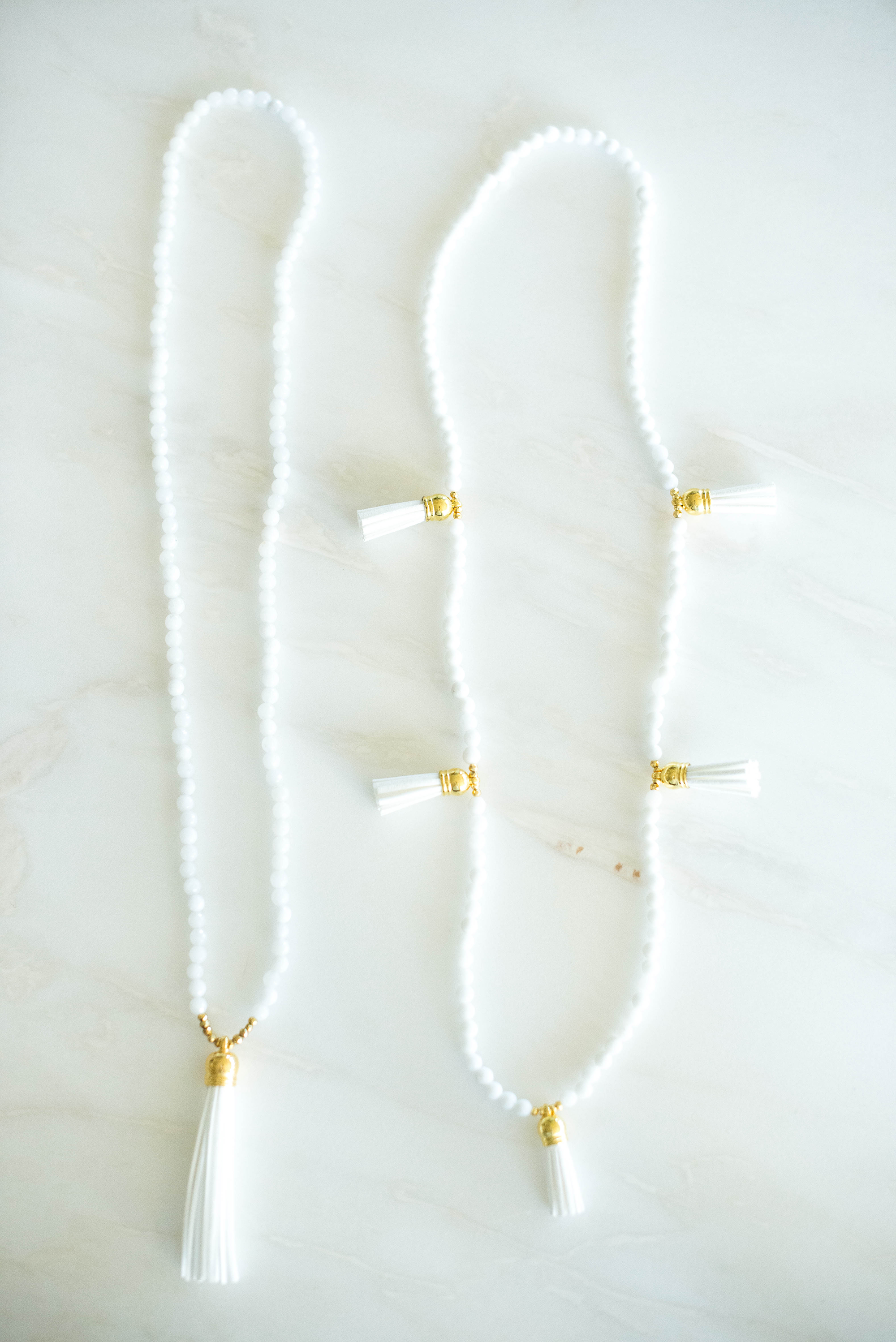 Laura Windsor White Beaded Tassel Necklaces | The Style Scribe