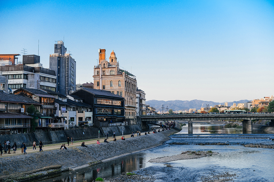 riverside walk in central kyoto