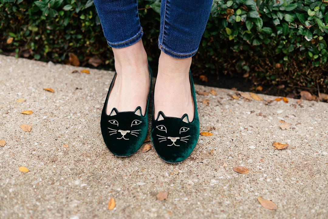 charlotte olympia velvet kitty flats