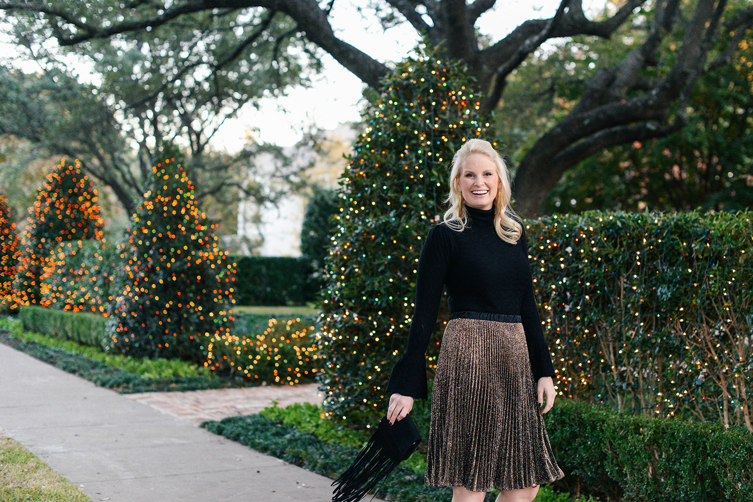 Sweater and skirt combo for holiday parties
