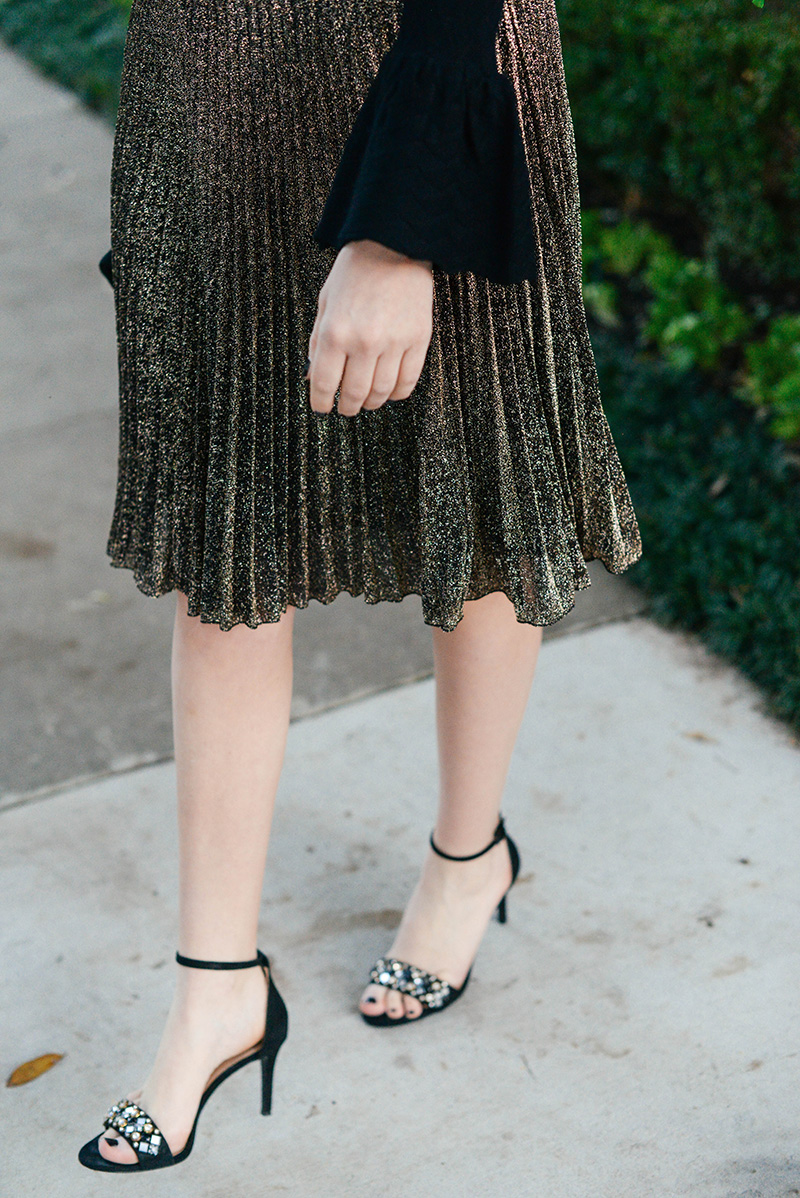 pleated metallic midi skirt holiday