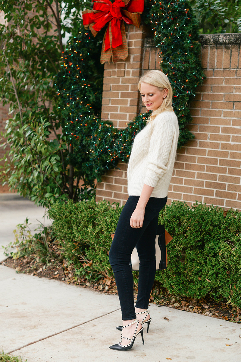 cozy white sweater holiday outfit