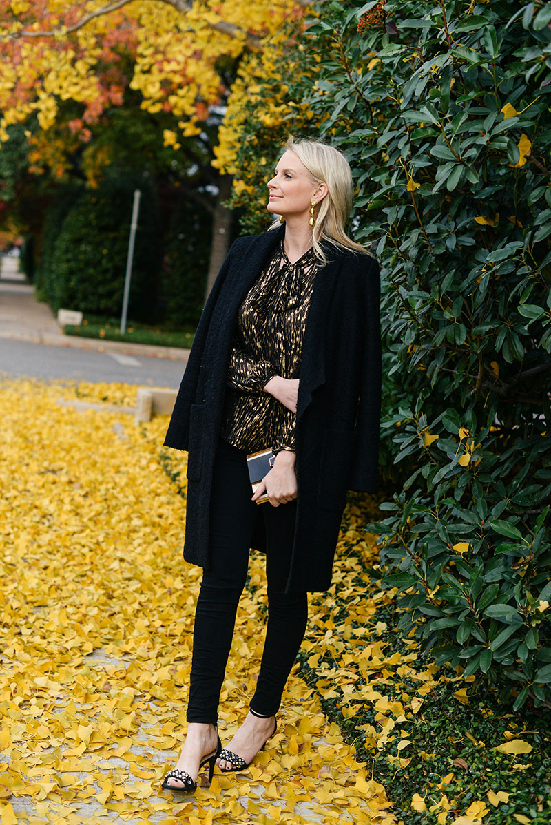 gold and black new year's eve outfit