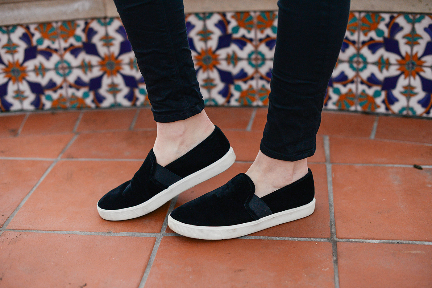 vince blair black velvet sneakers