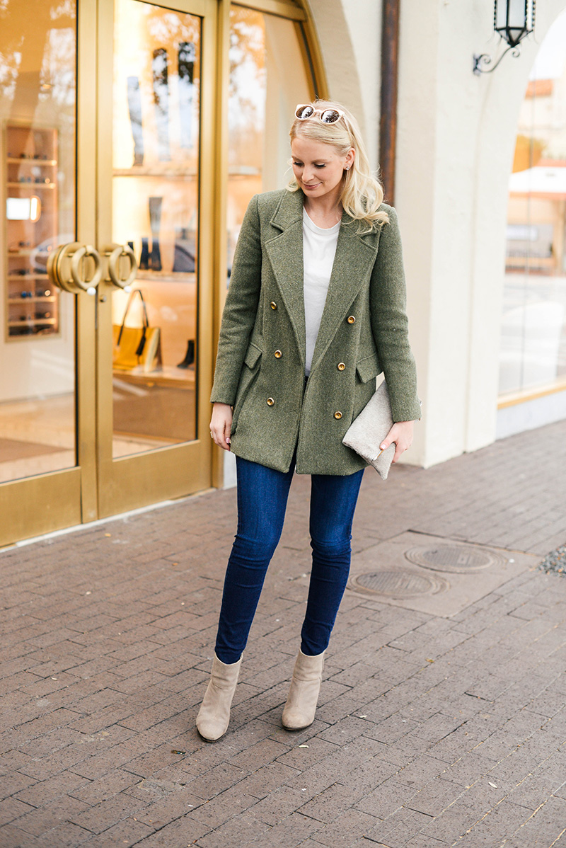 Green Wool Double Breasted Jacket | The Style Scribe