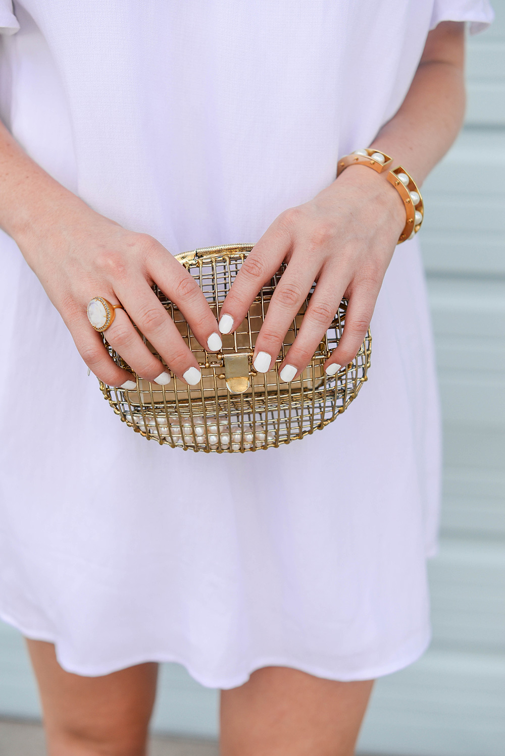 Anndra Neen Gold Cage Clutch | The Style Scribe