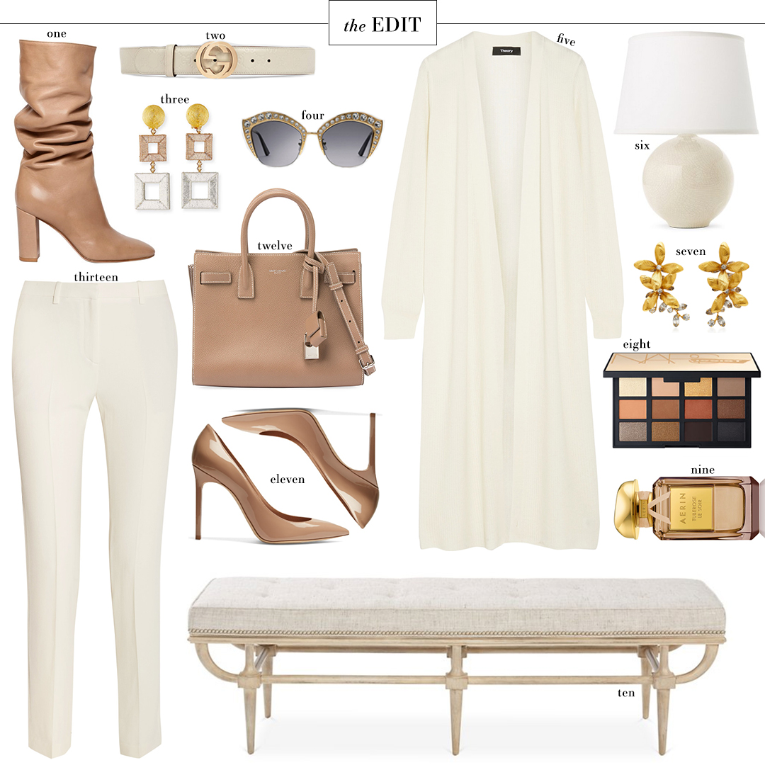 Gianvito Rossi Slouchy Leather Boots in Beige | The Edit
