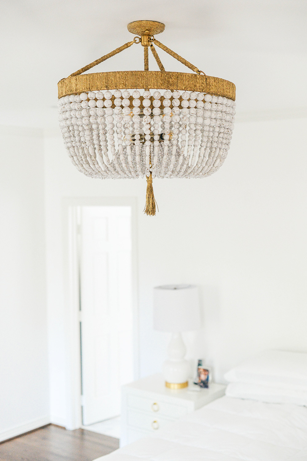 Ro Sham Beaux Malibu Beaded Chandelier Chic Interiors In White