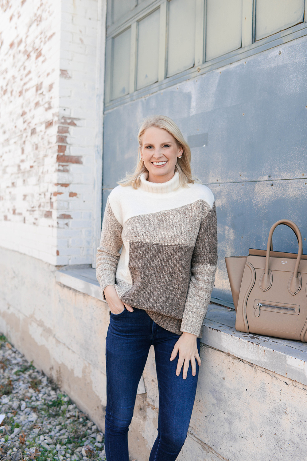 French Connection Patchwork Turtleneck Sweater | The Style Scribe
