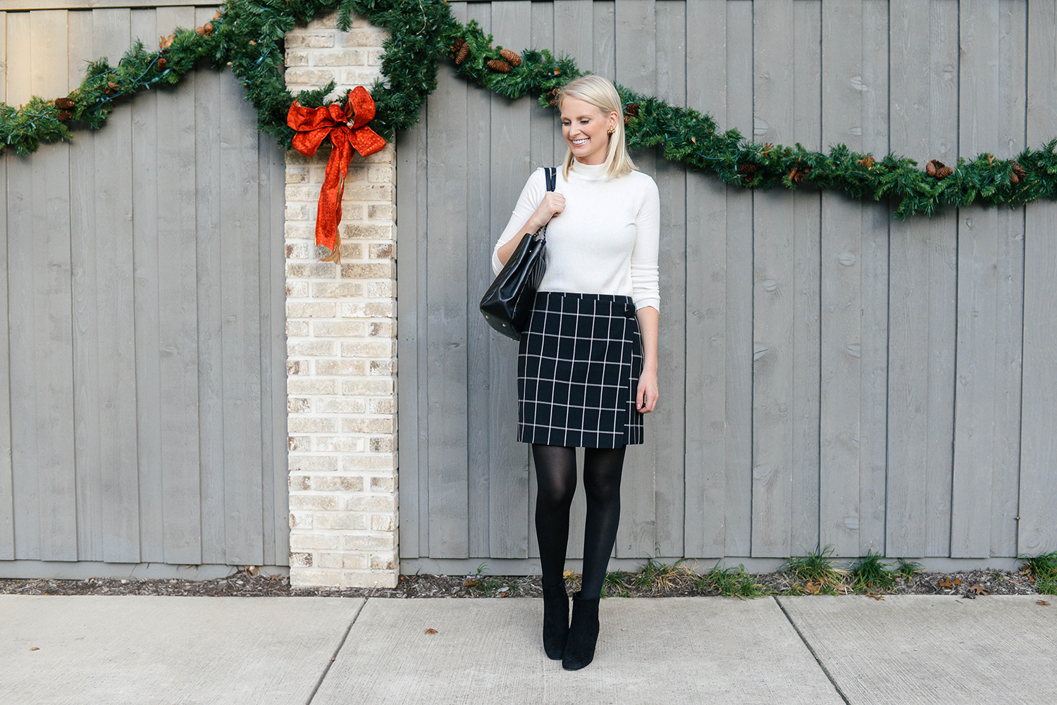 Loft Windowpane Skirt | The Style Scribe