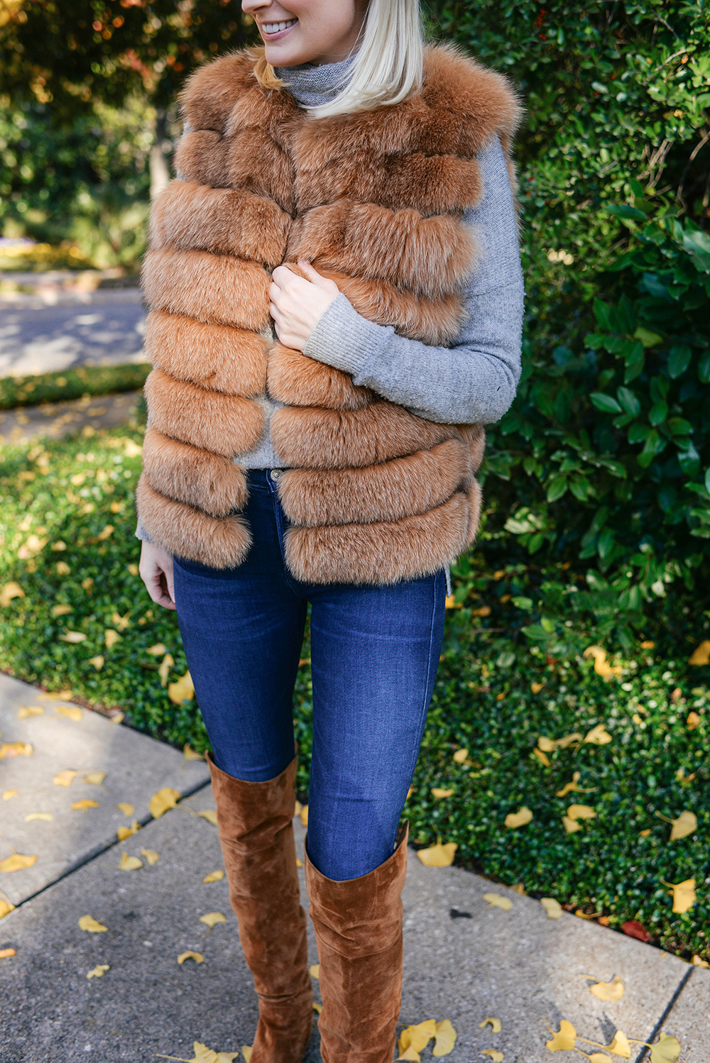 Brown Fox Fur Vest | The Style Scribe