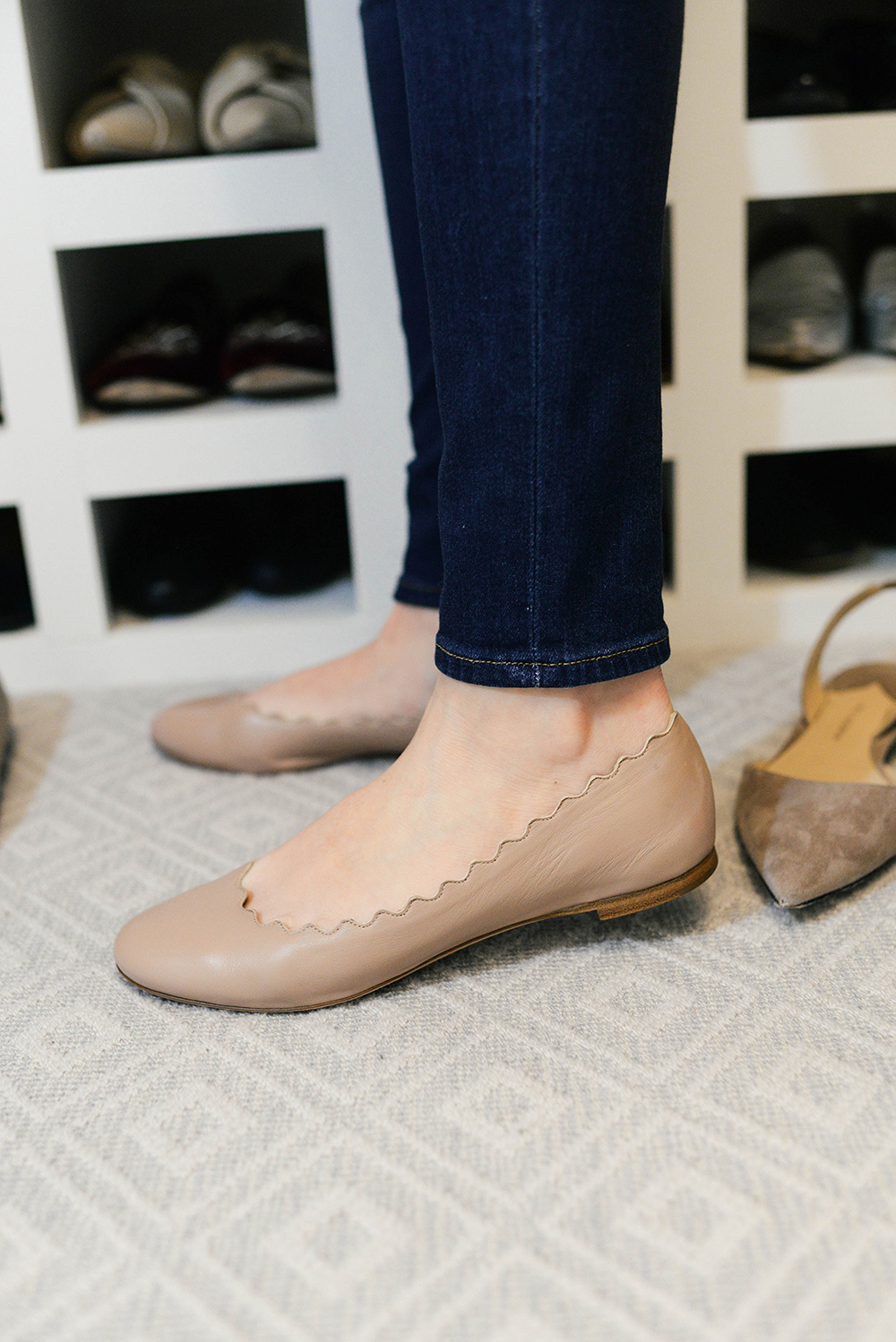 Chloe Leather Scalloped Ballet Flats | Style Scribe