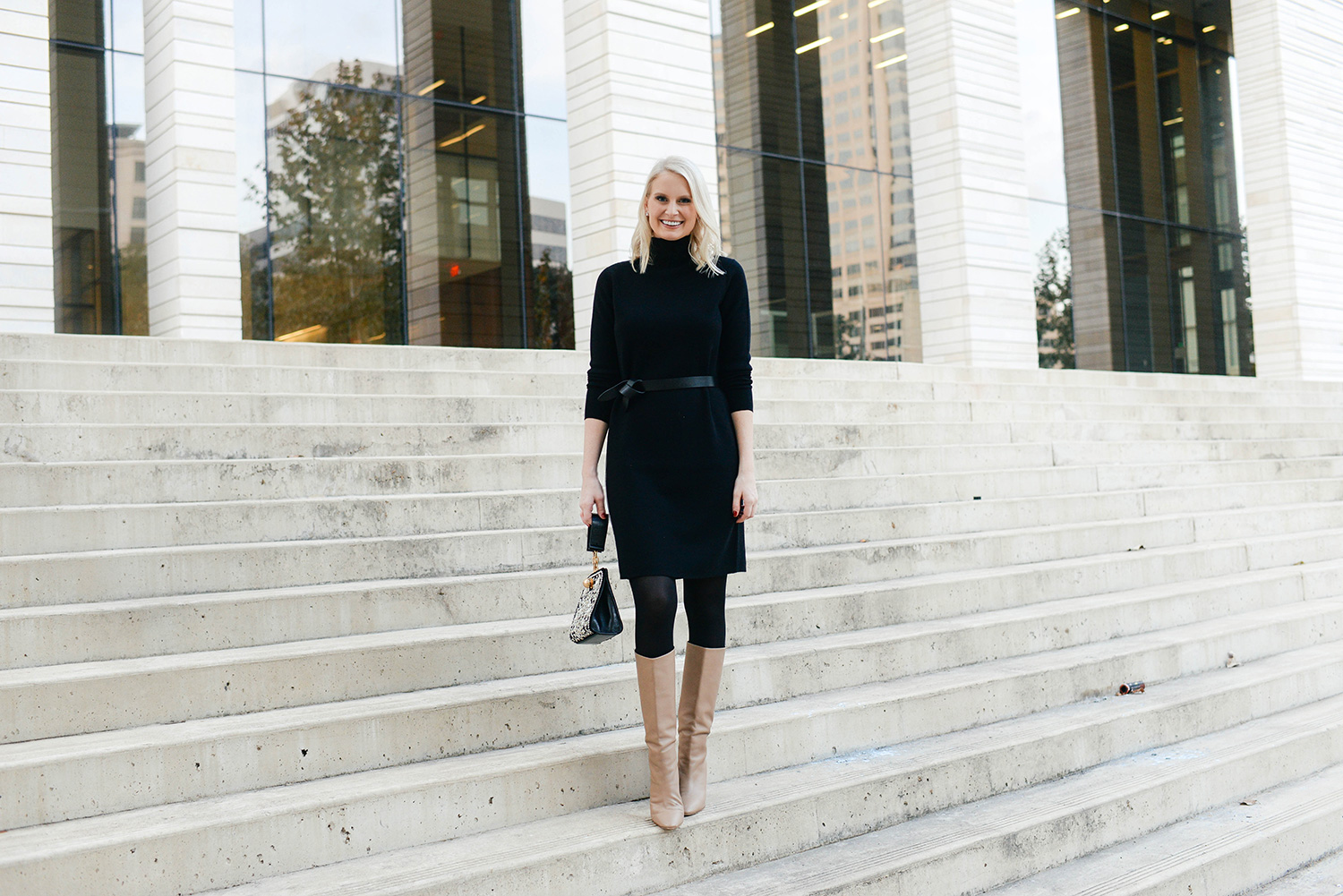 Black Turtleneck Sweater Dress | The Style Scribe