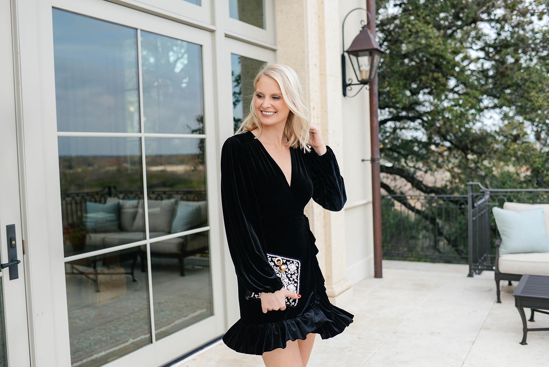 NYE Look | Velvet Little Black Dress