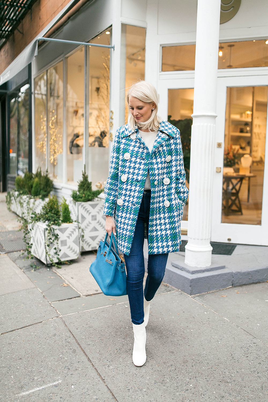 Miu Miu Houndstooth Coat + Turquoise Birkin | The Style Scribe