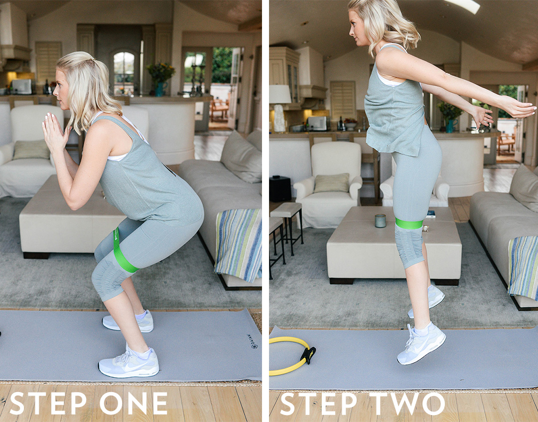 Jump Squats with Stretchy Band | Five Hip Workouts You Can Do At Home
