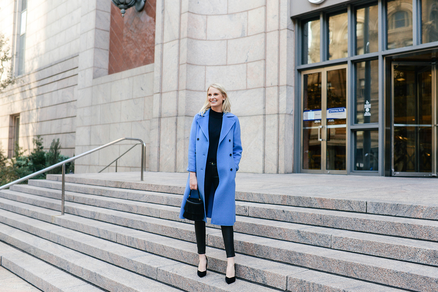 Pale Blue Zara Coat | Merritt Beck, Dallas Style Blogger