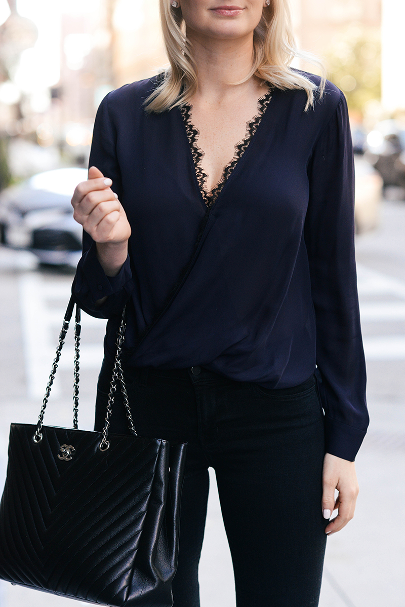 L'Agence Rosario Lace Trim Blouse | Dallas Fashion Bloggers