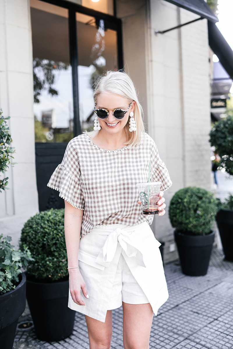 Moon River Gingham Top and Tie-Front Skort | Fashion Finds Under $100
