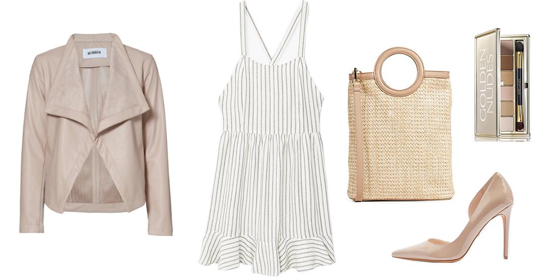 Under $100 // Mango Striped Wrap Back Dress