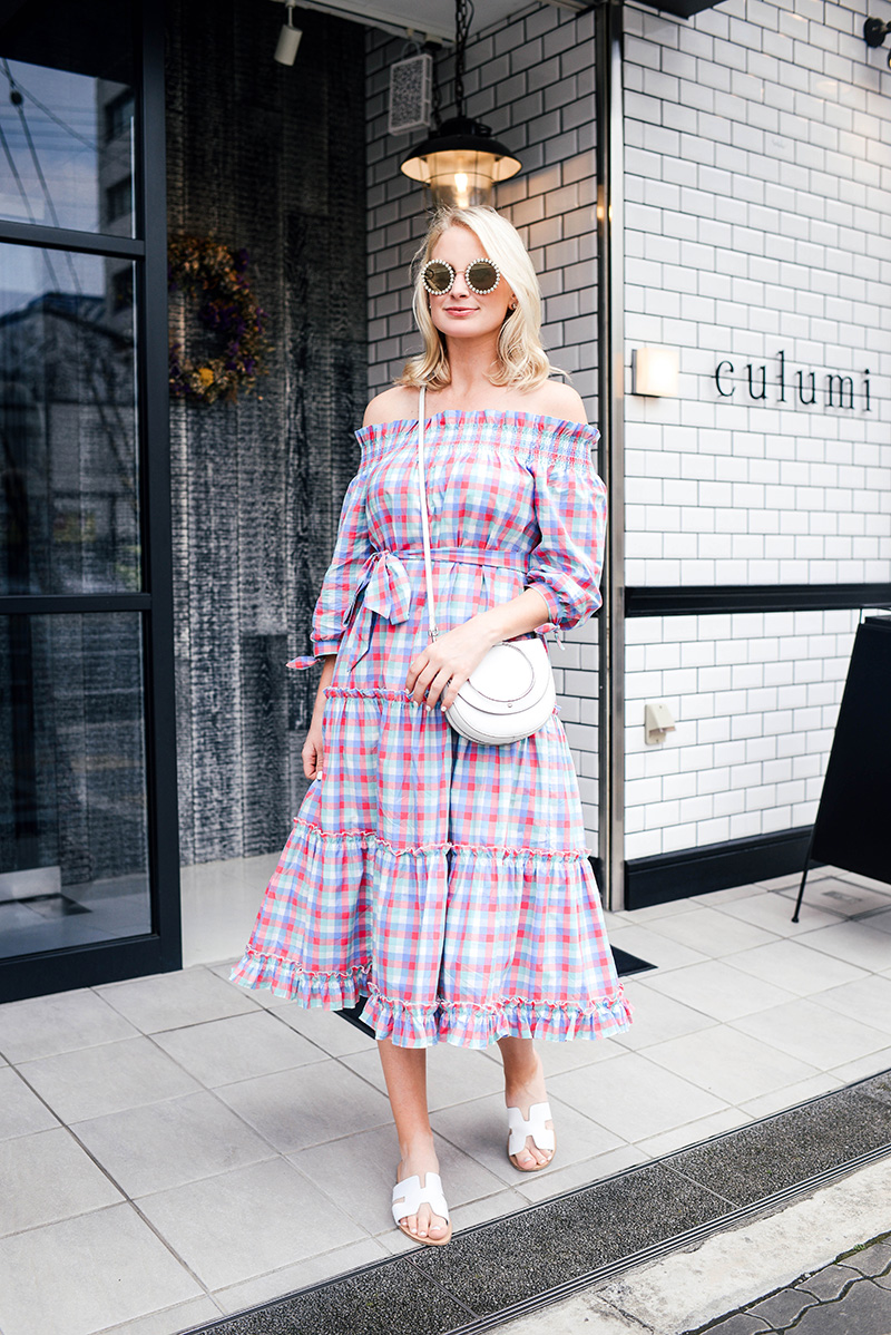 Kate Spade New York Madras Off-Shoulder Dress