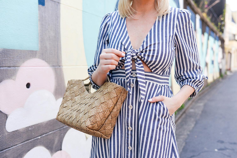 Madewell Shimmer Stripe Midi Dress in Tokyo, Japan | Merritt Beck