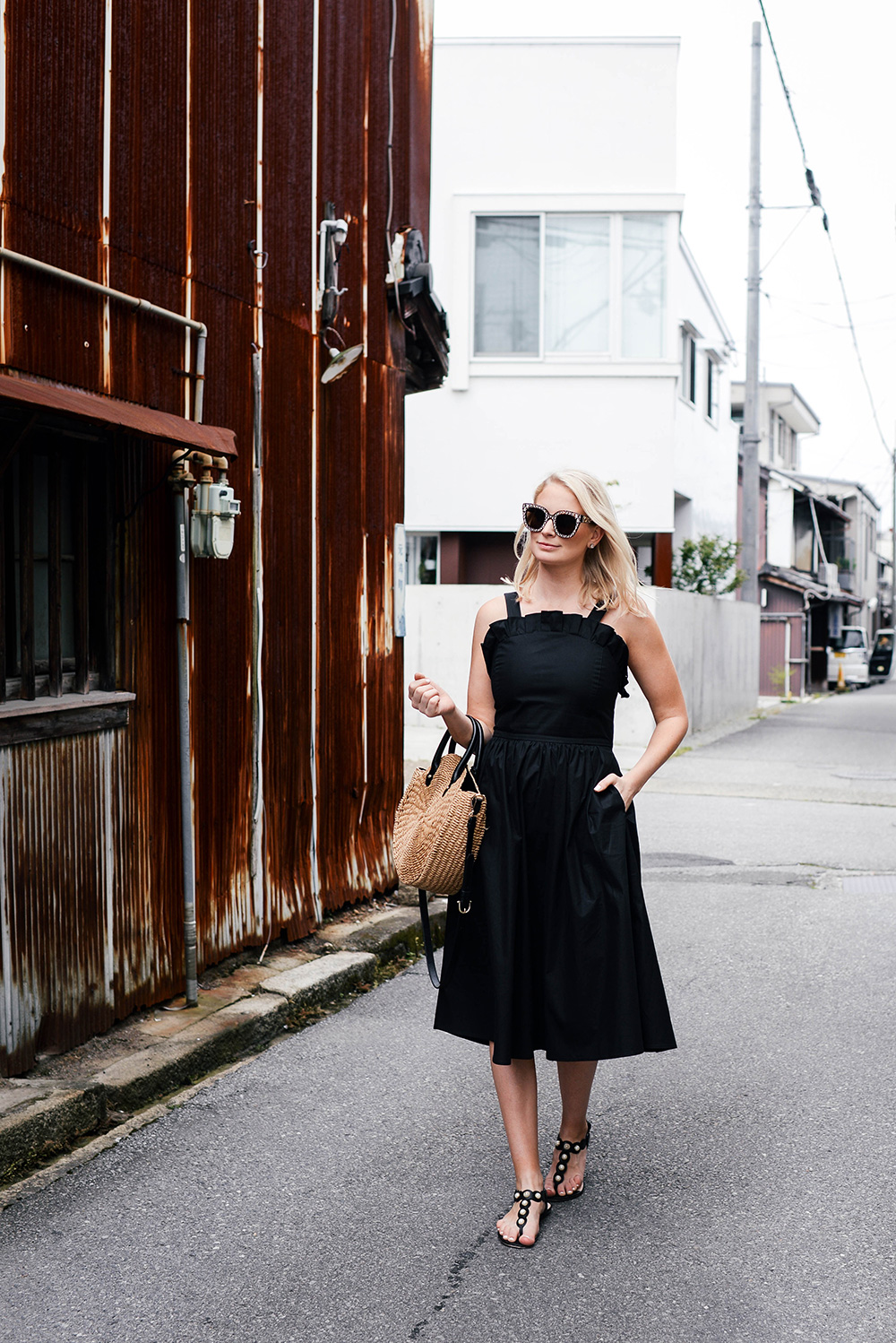 Sea Sunrise Black Midi Dress | Dallas Style Bloggers