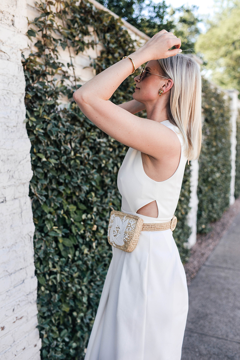 Tibi White Jumpsuit with Zimmermann Rafia Belt Bag | Merritt Beck, The Style Scribe