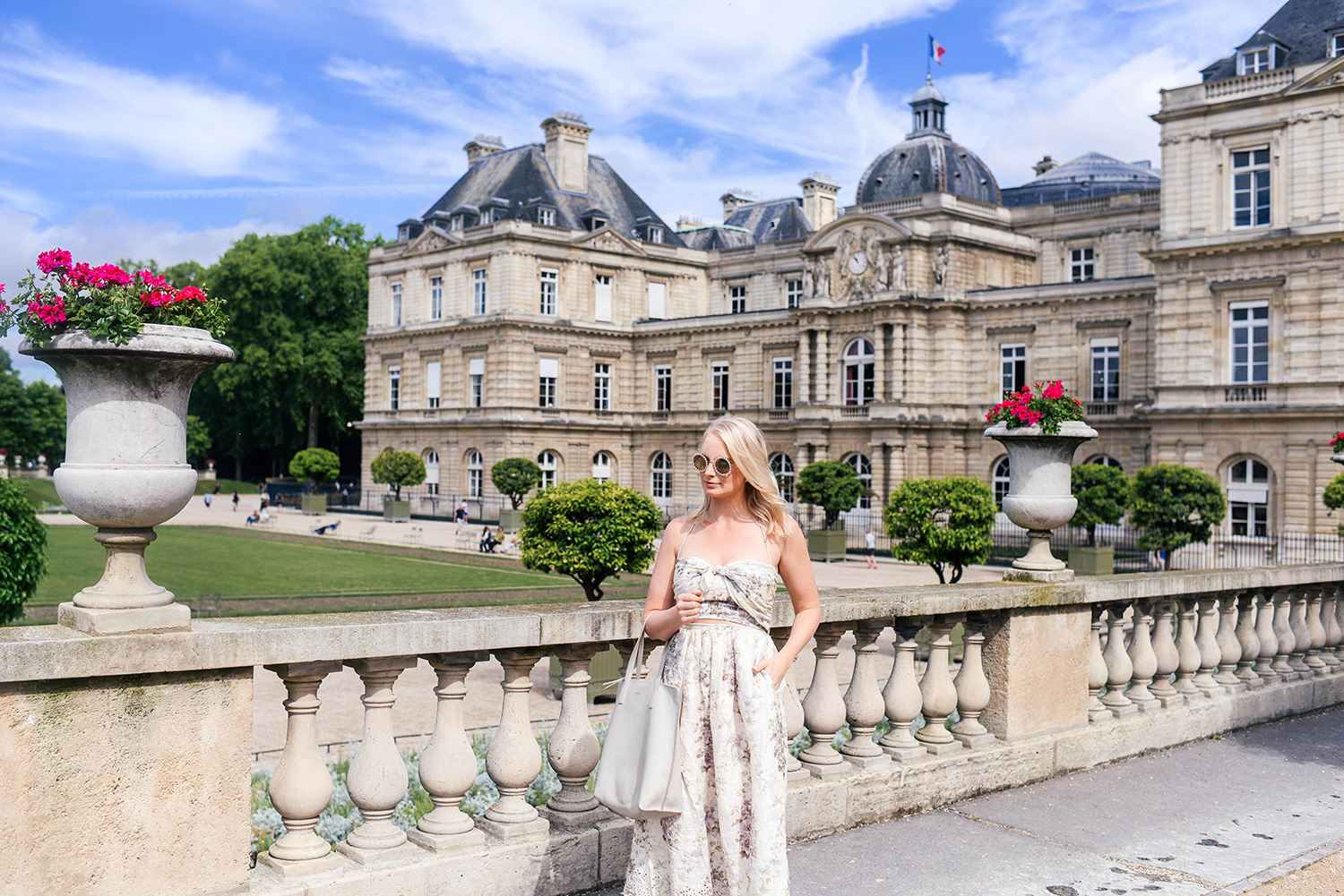Zimmermann Iris Picnic Dress at the Jardin du Luxembourg in Paris   The Style Scribe