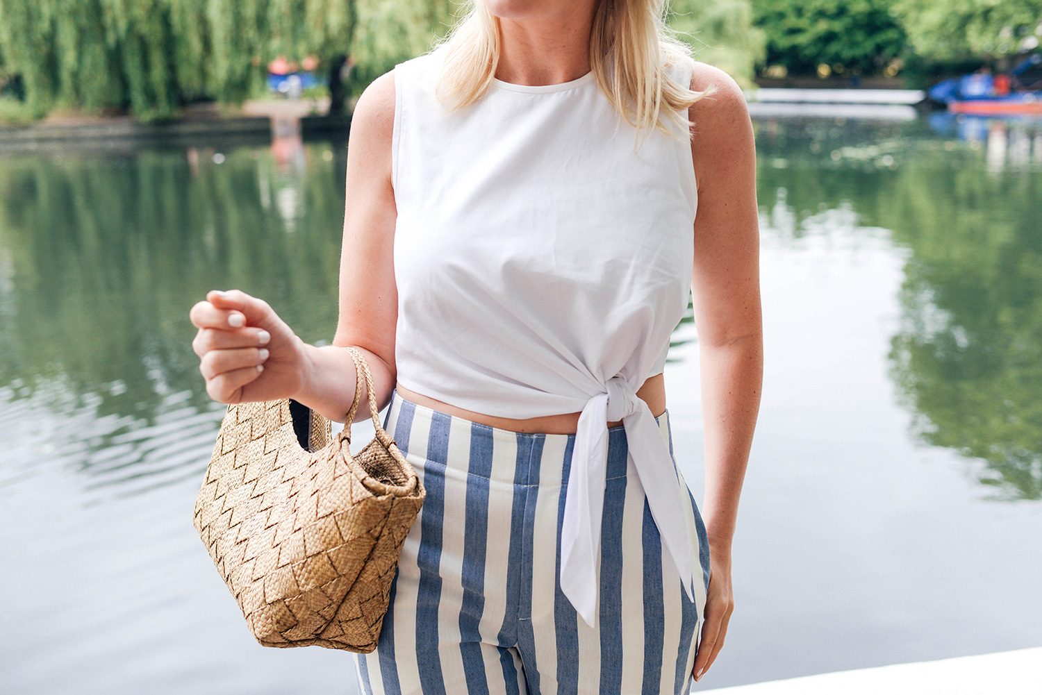 Club Monaco Striped Wide Leg Cropped Pants | The Style Scribe