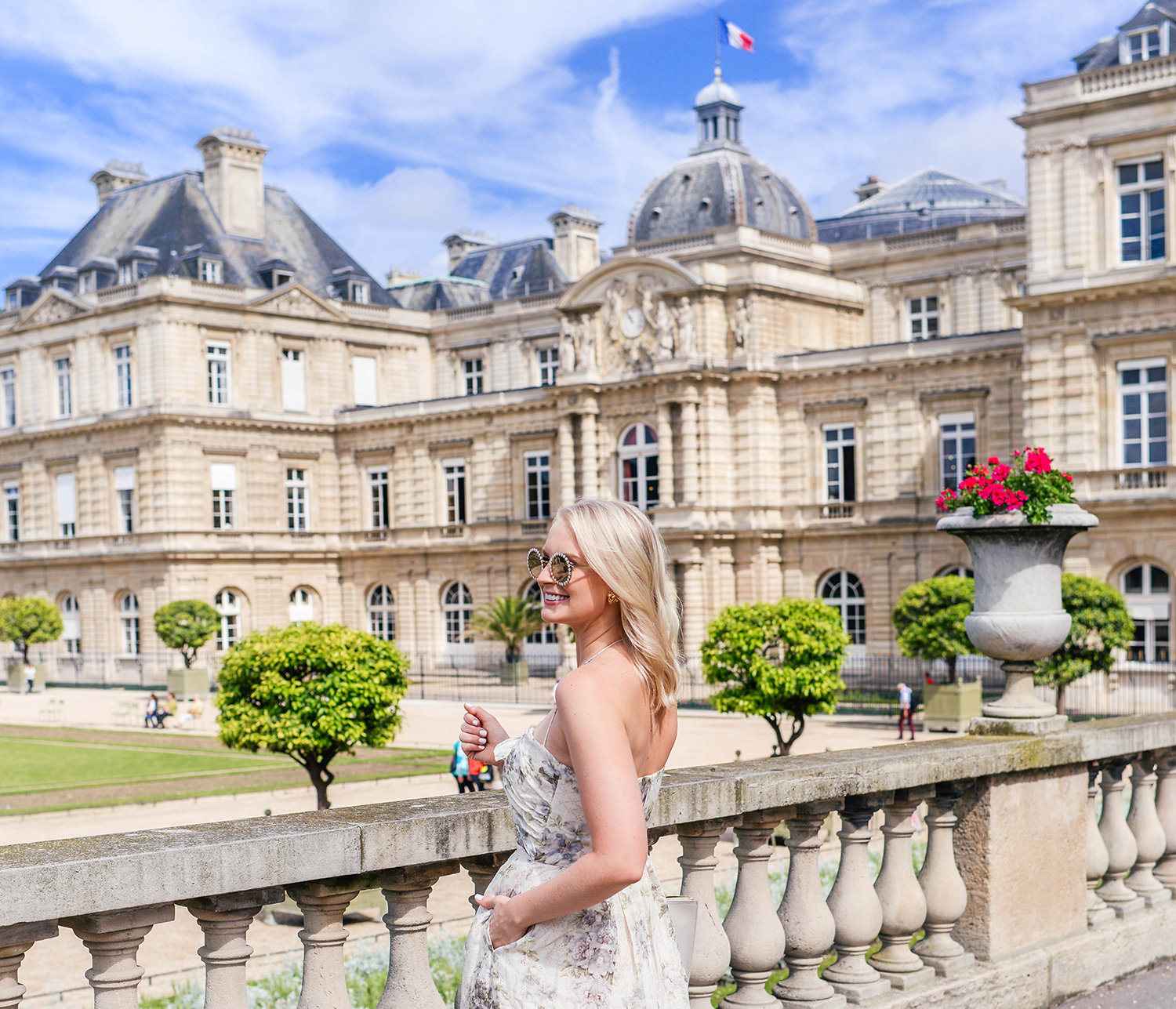 Zimmermann Iris Picnic Dress at the Jardin du Luxembourg in Paris | The Style Scribe