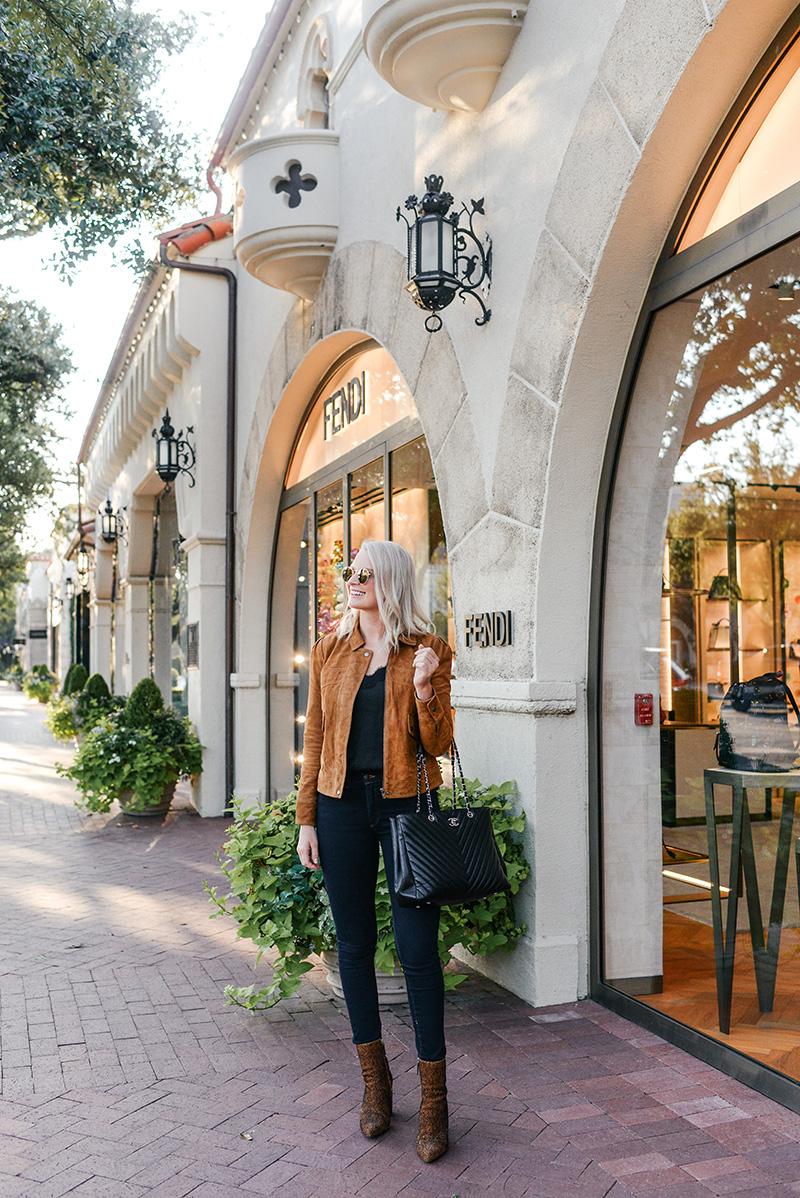 Chelsea28 Puff Sleeve Suede Jacket on Merritt Beck, Dallas Fashion Blogger