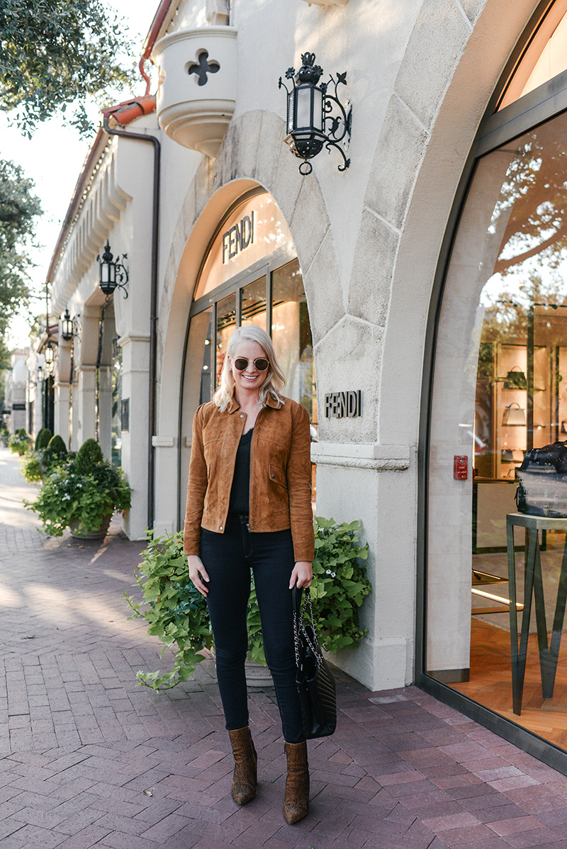 Chelsea28 Puff Sleeve Suede Jacket on Merritt Beck, Dallas Fashion Blogger