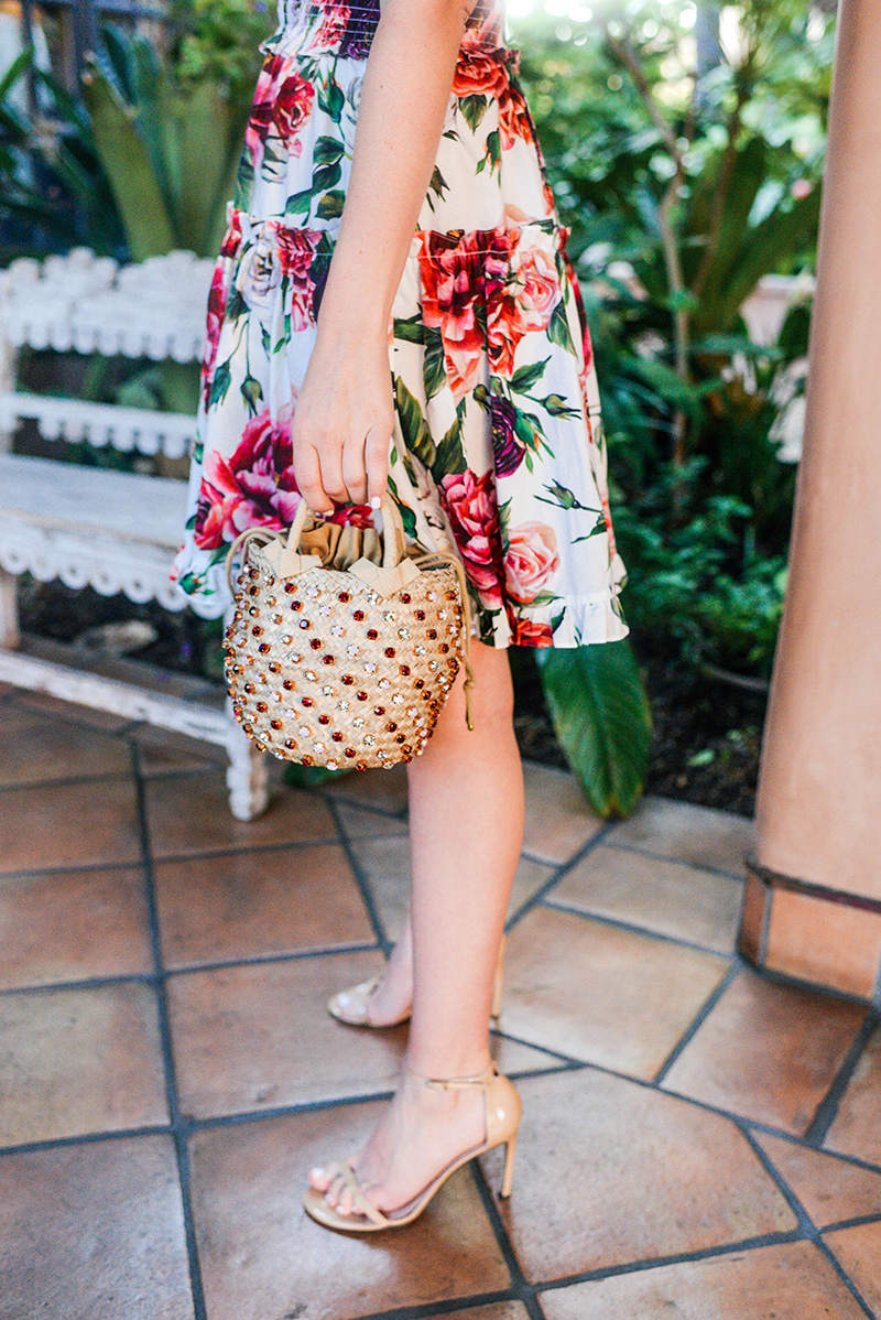 Dolce & Gabbana Rose Print Off Shoulder Dress on Merritt Beck