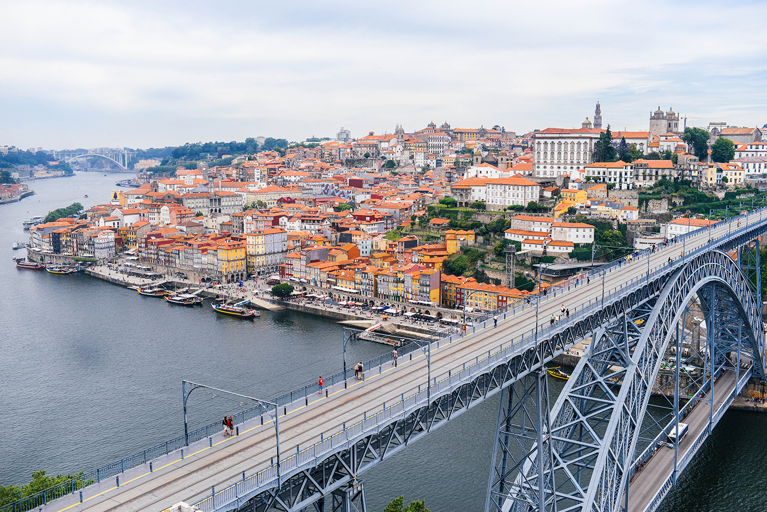 View of Porto and Duoro River from Dom Saint Luis Bridge